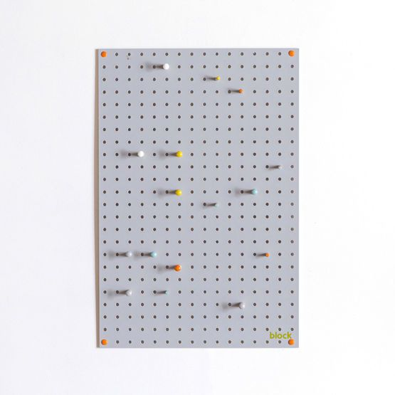 Medium Block Wooden Pegboard with Pegs  - Grey